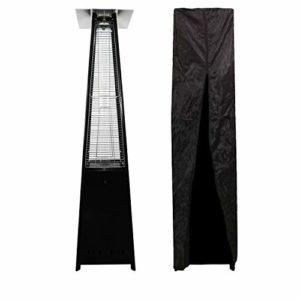 Parasol chauffant STOCKHOLM – flamme au gaz – acier noir + housse de protection