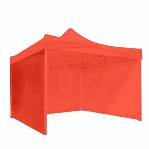 Pavillon de Jardin 3 Murs Côté Tente Auvent Camping Voyage Pique-Nique Portable Gazebo Pare-Soleil Couverture Rouge Bâche imperméable à l'eau Gazebo (Color : Red, Size : 3 x 3m)