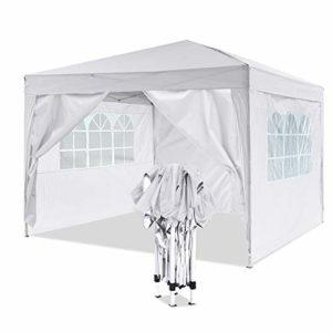 Profun Tonnelle Jardin Pavillon 3x3m/3x6m Tente Abri Pergola Pliante avec Parois Latérales et Fenêtres pour Les Parties Evénements Mariage dans Le Jardin Patio Extérieur (3×3 m, Blanc)