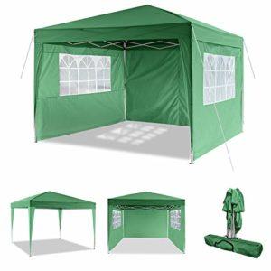 ROOJER 3x3m/3x6m Tonnelle Pliante Imperméable Pavillon Tente de Jardin avec Parois Latérales et Fenêtres pour Camping, Réception, Fête