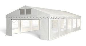Royal Catering Tente de Reception Gazebo Pavillon de Jardin RCPT 5/10W (5×10 m, 50m², Résistante à l'eau, au pétrole, aux UV) Blanc