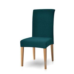 subrtex Housse de Chaise de Salle à Manger Stretch Extensible Antidérapante Couverture de Chaise (4 Pièce, Bleu Vert)