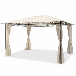 TOOLPORT Pavillon de Jardin Pavillon étanche de 3×4 m avec Tente de Jardin à 4 côtés, bâche de Toit 180 g/m² dans Une Tente de réception Beige
