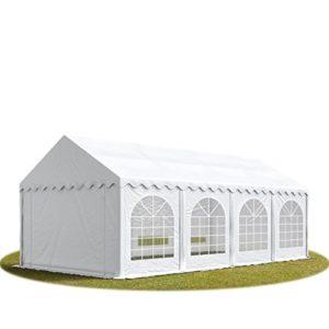 TOOLPORT Tente Barnum de Réception 3×9 m Bâches PVC 500 g/m² Blanc Cadre de Sol Jardin