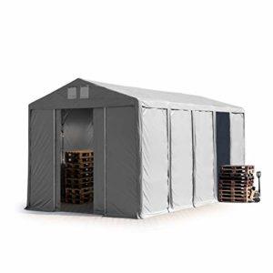 TOOLPORT Tente de Stockage Industriel Hangar 5×10 m à 4 mètres de Hauteur de côté avec bâches en PVC Gris de 550 g/m² 100% imperméable avec Porte coulissante