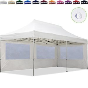 TOOLPORT Tente Pliante 3×6 m – 2 côtés Aluminium Barnum Chapiteau Pliant Tonnelle Stand Paddock Réception Abri Blanc