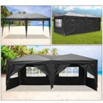 Eloklem Jardin étanche Tonnelle Tente de Reception Pliante pavillon 3 x 6 m Camping Pavillon Gazebo avec 4 côtés (3 x 6 m, Noir)