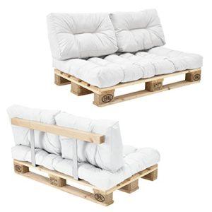 [en.casa] Canapé de palettes – 2-siège avec coussins – (blanc) kit complètet incl. Dossier