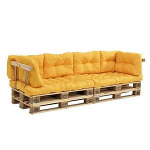 [en.casa] Canapé de palettes – 2-siège avec coussins – (moutard) kit complète incl. accoudoir et dossier