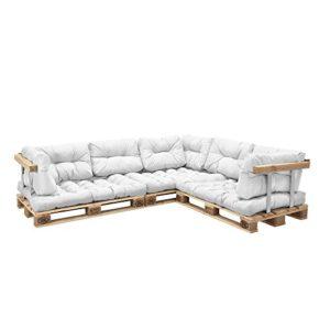 [en.CASA] Canapé de palettes – 5-siège avec Coussins – (Blanc) kit complète INCL. accoudoir et Dossier – Model 1