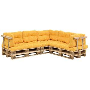 [en.casa] Canapé de palettes – 5-siège avec coussins – (moutard) kit complète incl. accoudoir et dossier