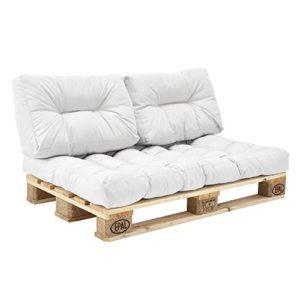 en.casa] Coussins pour palettes – kit de 3 – coussin de siège + Coussins de dossier [blanc] Canapé de palettes In/Outdoor