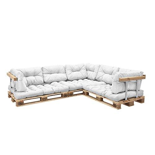 [en.casa]Coussins pour palettes – 11 pièces – coussin de siège + Coussins de dossier [blanc] Canapé de palettes In/Outdoor