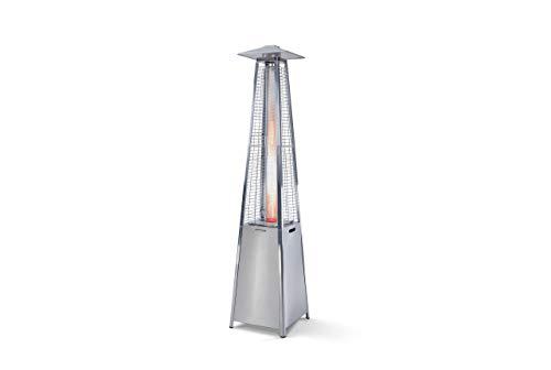 FARGAU INFRAROUGE Pyramide chauffante, Parasol Chauffant au gaz avec Tuyau, détendeur NF et Housse Offerte, Tube en Verre et Non Quartz, INOX (INOX)