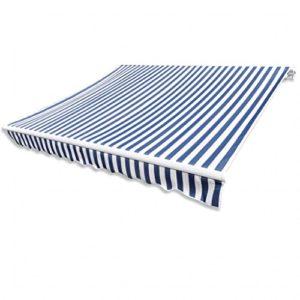Festnight Auvent de Terrasse   Store de Balcon   Toit d'auvent Toile Bleu et Blanc 6×3 m (Cadre Non Inclus) pour terrasse ou dans Le Jardin