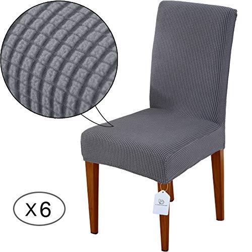 LUOLLOVE Housses de chaises, Extensible Amovible Lavable Housse de Chaise de Salle a Manger, Housse de Chaise Extensible(6-Pièces,Grises)