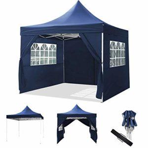 ROOJER 3x3m/3x6m Tonnelle Pliante Imperméable Pavillon Tente de Jardin avec Parois Latérales et Fenêtres pour Camping, Réception, Fête (3 * 3M, Blue)