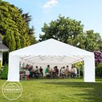 Tente Barnum de Réception 6×12 m ignifugee PREMIUM Bâches Amovibles PVC 500 g/m² vert-blanc Cadre de Sol Jardin INTENT24