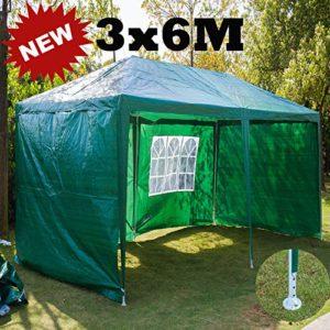 Tonnelle de jardin 3 x 6 m avec panneaux latéraux, entièrement étanche, cadre en acier avec revêtement poudré, couverture en polyéthylène pliante pour fête (vert)