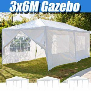 Tonnelle de jardin blanche 3 x 6 m avec panneaux latéraux Fenêtres entièrement étanche pour extérieur Tente de fête