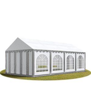 TOOLPORT Tente Barnum de Réception 4×8 m Bâches PVC 500 g/m² Gris-Blanc Cadre de Sol Jardin