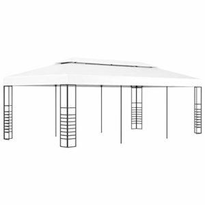 vidaXL Tonnelle de Jardin Belvédère Chapiteau Tente de Réception Pavillon Terrasse Extérieur Arrière-Cour Camping Mariage 6×3 m Blanc