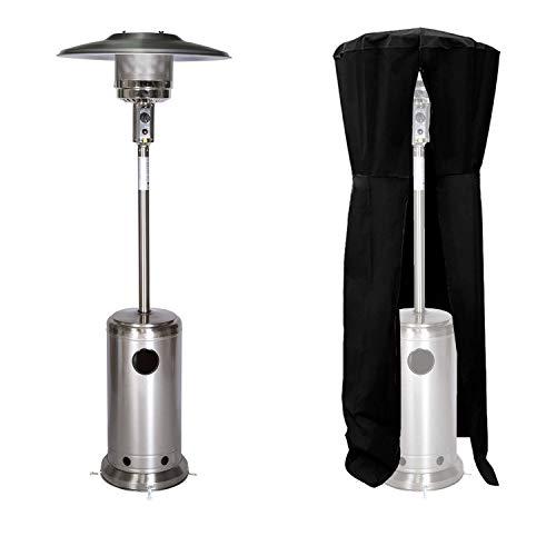 Beneffito Kohala Parasol Chauffant au Gaz – Acier INOX – Transportable – Housse de Protection Noire – Chauffage Extérieur – Surface de Chauffe 30m2 – Allumage Facile – roulettes