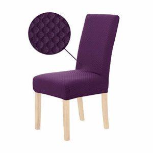 Deconovo Lot de 4 Housse de Chaise Universelle Extensible Housses de Chaises Lavables Decoratives Elastiques Extra Doux Jacquard 46x46x60cm Violet