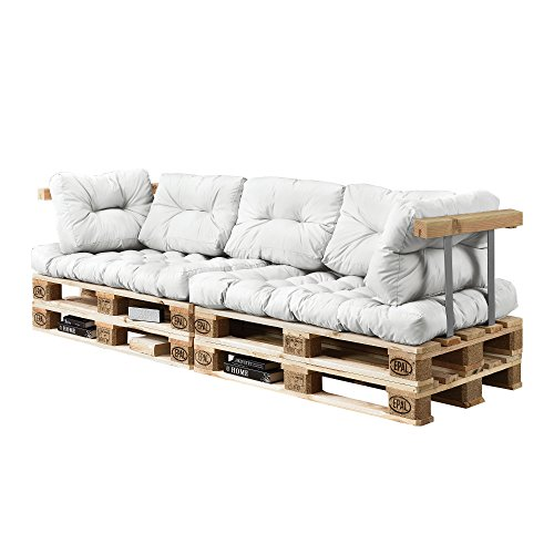 [en.casa] Coussins pour palettes – 7 pièces – Coussin de siège + Coussins de Dossier [Blanc] Canapé de palettes in/Outdoor