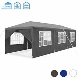 Froadp Pavillon de jardin étanche avec structure en acier 3x9m mit 8 Seitenwände gris foncé