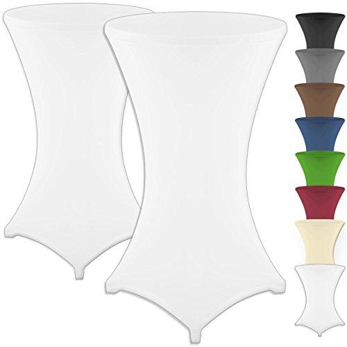Gräfenstayn® 2pcs. housse de table haute en stretch Diana avec joint Oeko-Tex, renforcée dans la zone des pieds, 40°C lavable en machine dans de nombreuses couleurs et tailles Ø70 – 120cm, blanc