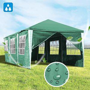 Hengda Tente de Jardin 3 x 9 m avec Panneaux latéraux de Protection UV, Cadre en Acier revêtu de Poudre pour extérieur, Mariage, Jardin