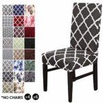 LiveGo Housse de Chaise, 4 Paquet Stretch Couvre-chaises pour Salle à Manger décoration de fête Noir + Blanc