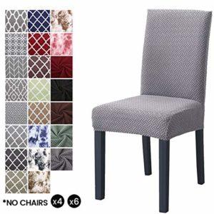 LiveGo Housse de Chaise élastique, Lot de 4 Modernes Stretch-Housse Couverture de Chaise pour décoration de fête, Gris argenté