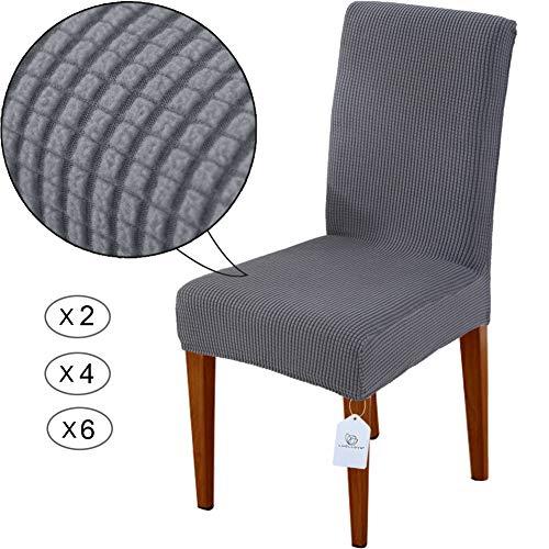 LUOLLOVE Housses de chaises, Extensible Amovible Lavable Housse de Chaise de Salle a Manger, Housse de Chaise Extensible(2-Pièces,Grises)