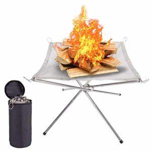 LYNN Brasero portable de camping en maille d'acier inoxydable pliable pour terrasse extérieure