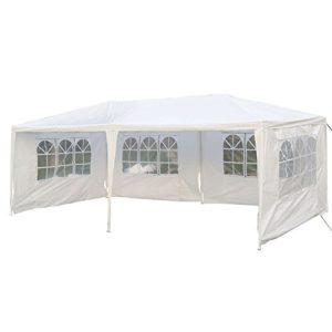 mctech® 6x 3m Lave-vaisselle Tentes Tonnelle Tente de jardin pavillon bière tente tonnelle Lave-vaisselle avec 4parois latérales, 4x fenêtre, étanche PE Bâche Camping tente SG Weiß, 6 x 3 m mit 4 Seitenwände