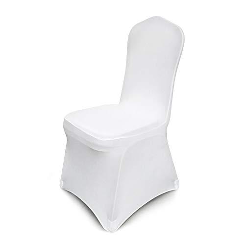 Ukiki Couverture de Housse de Chaise Amovible Chaise Couvre Polyester Spandex pour Fête de Banquet de Mariage Blanc Sièges de Chaise 100 Pièces Stretch Chair Cover Vestisedia Moderne Blanc