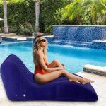 Canapé gonflable inclinable gonflable, forme en S, flocage de canapé gonflable pour usage intérieur et extérieur, 155x89x65cm – Portant 150KG