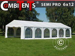 Dancover Tente de réception, Semi Pro Plus CombiTents® 6x12m 4-en-1, Blanc