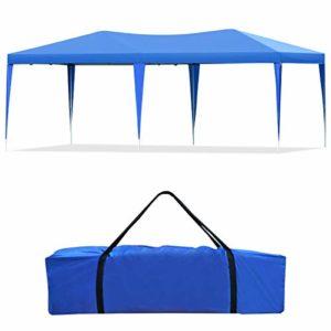 GOPLUS Tente de Jardin Tente de Réception Tonnelle de Jardin Tube en Acier Structure Solide et Durable Idéal pour Fêtes/Mariages/Célébrations 3x6x2,5M-Blanc/Bleu (Bleu)