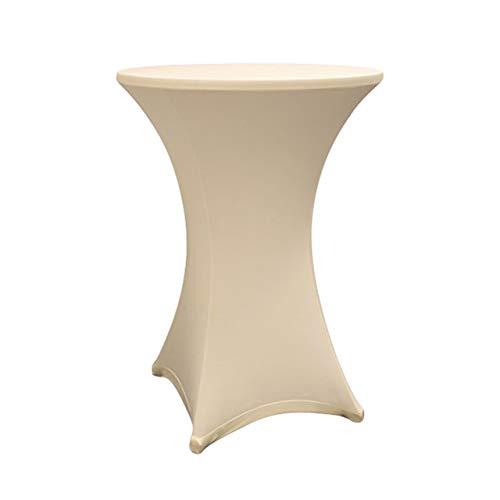 Lumaland Housse pour Table Haute de Reception Ronde| Nappe pour Mange-Debout | Protection Table Cocktail | Ø 60-65cm Beige