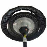Parasol Chauffant électrique sur Pied Hauteur 210cm avec Couverture en résine tressée- 2100W- Noir