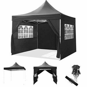 ROOJER 3x3m/3x6m Tonnelle Pliante Imperméable Pavillon Tente de Jardin avec Parois Latérales et Fenêtres pour Camping, Réception, Fête (3 * 3M, Black)