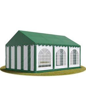 TOOLPORT Tente Barnum de Réception 3×6 m Bâches PVC 500 g/m² Vert-Blanc Cadre de Sol Jardin