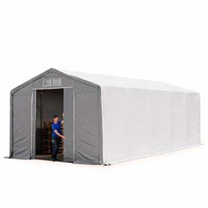 TOOLPORT Tente de Stockage 5x10m, Hangar, Tente Industrielle, 3m Hauteur de côté, avec Porte coulissante, PVC de 550g/m² imperméable, Gris