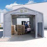 TOOLPORT Tente de Stockage 6x12m, Hangar, Tente Industrielle, 3m Hauteur de côté, avec Porte actionnée par Traction, bâche en Une Seule pièce imperméable,Gris