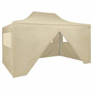 CFG Parasols, auvents et ombrage tente pliante avec 4 parois 3 x 4,5 m blanc crème Tente pliante pliable, tonnelle de jardin et tonnelles