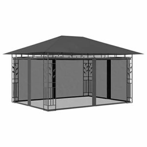 Festnight Belvédère de Patio Tente de Jardin avec Moustiquaire 4x3x2,73 m Anthracite 180 g/m²