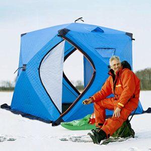 LJYLF Extérieur Étanche Apparaitre Tente, 2-3 Personnes Pêche d'hiver Tente, Poids léger Portable Protection Contre Le Froid Épaissir Camping Tentes, avec Sac Rangement,Bleu